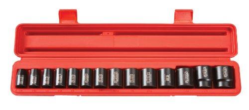 TEKTON 48161 12-Inch Drive Shallow Impact Socket Set Inch Cr-V 12-Point 38-Inch - 1-14-Inch 14-Sockets