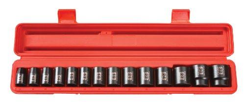 TEKTON 48171 12-Inch Drive Shallow Impact Socket Set Metric Cr-V 12-Point 11 mm - 32 mm 14-Sockets