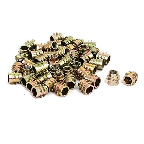 uxcell M6x10mm Hex Socket Threaded Insert Nuts Bronze Tone 50pcs for Wood Furniture