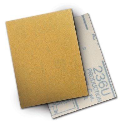 3M Hookit 236U Coated Aluminum Oxide Sanding Sheet - P120 Grit - Hook Loop Attachment - 3 in Width x 4 in Length - 28172 PRICE is per SHEET