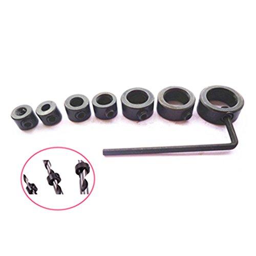 7pcs Drill Bit Stop Collars Set Exact Hole Depth Bits Locator Drill Clamp Metric 3mm 4mm 5mm 6mm 8mm 10mm 12mm  1pc Hex Wrench
