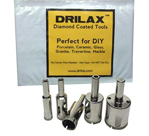 "Drilaxâ""¢ 5 Pcs Diamond Drill Bit Set 38 12 05 In 58 34 1 Wet Use for Tiles Glass Fish Tanks Marble Granite Ceramic Porcelain Bottles Quartz - Lot 5 Diamond Coated Drills - Kitchen Bathroom Shower Lamps Drilax051025"