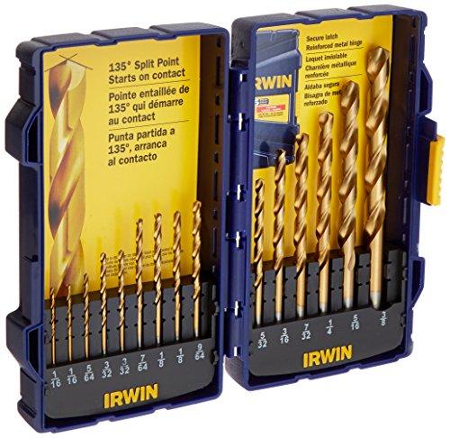Irwin Tools 4935607 Titanium Coated High-Speed Steel Drill Bit Set Pro Case 15-Piece