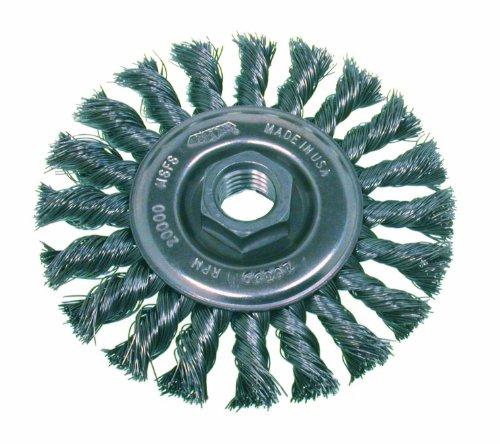 Osborn 26213 High Speed Small Grinder Standard Twist Knot Wire Wheel Brush Steel Bristle 12000 RPM 5 Diameter 002 Fill Diameter
