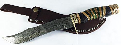 Nagata handmade Damascus Bowie Hunting Knife 14 with Leather Sheath