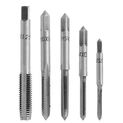 Kangnice 5PcsSet HSS Machine Hand Screw Thread Metric Plug Tap Drill Kit M3 M4 M5 M6 M8