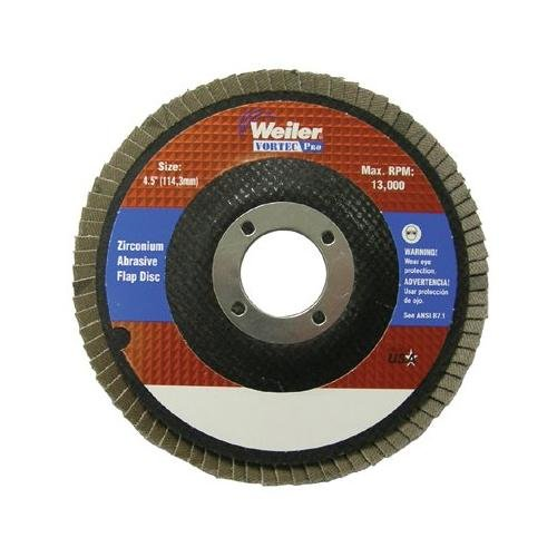 Weiler 804-31348 Vortec Pro Zirconia Alumina Type 29 Flap Disc 24 Grit 58-11 UNC 13000 rpm 4 12 Pack of 10