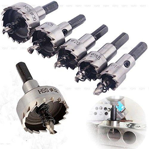 Yosoo 6pcsset Carbide Tip HSS Drill Bit Hole Saw Set Twist Drill Bits Hole Saw Cutter Power Tools 1618520253032mm