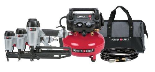 PORTER-CABLE PC3PAK Finish NailerBrad NailerStapler Compressor Combo Kit