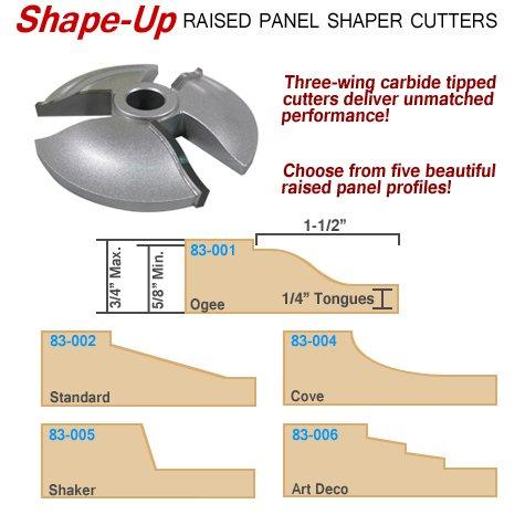 Infinity Tools 83-005 15° Shaker Raised Panel Shaper Cutter 34 Bore
