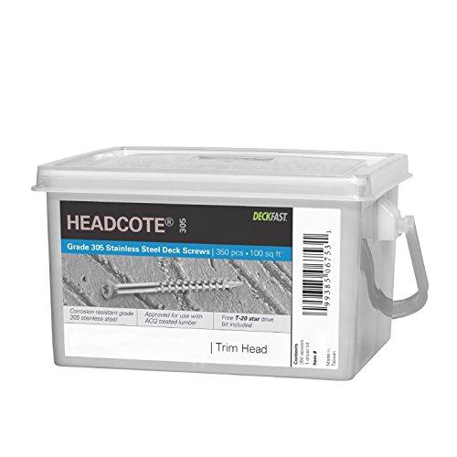 Headcote Trim Screws - 7 x 2-14 - 39 White- 305 Stainless Steel - 350 Pc Deck Pack