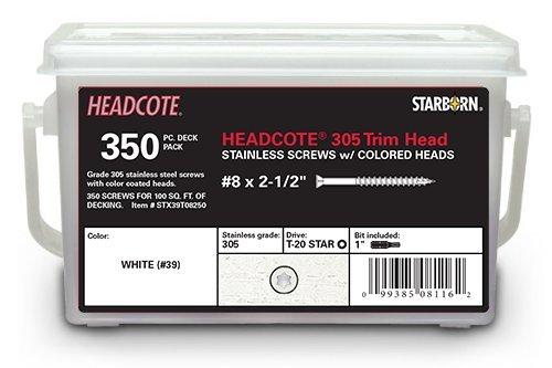 Headcote Trim Screws - 8 x 2-12 - 39 White- 305 Stainless Steel - 350 Pc Deck Pack - STAR DRIVE
