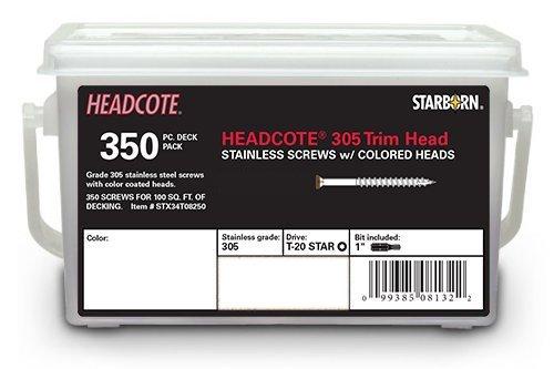 Headcote Trim Screws - 8 x 2-12 - 65 Rosy Brown- 305 Stainless Steel - 350 Pc Deck Pack