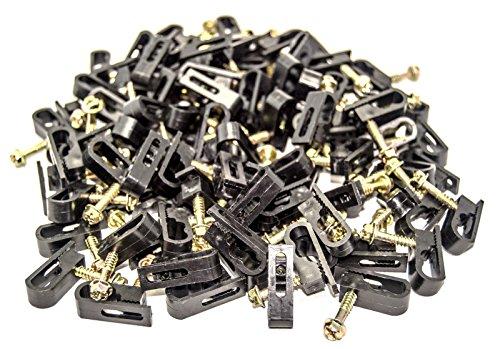 1000 Pieces black Dual Double Screw Flex Clips for RG59 RG6 CO AX SAT CABLE
