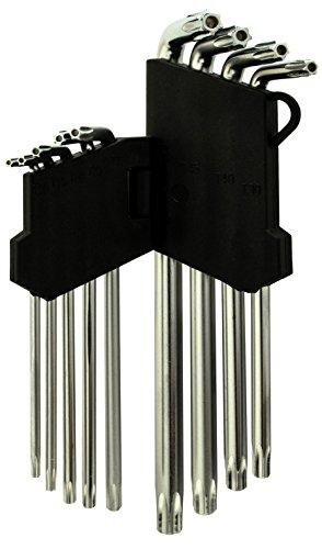 Bastex 9pc Allen Tool Set Anti Tamper Proof Torx Star Key Bit Wrench L-Shape T10-T50