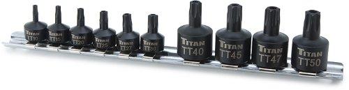 Titan Tools 16143 Tamper Resistant Stubby Star Bit Socket Set - 10 Piece