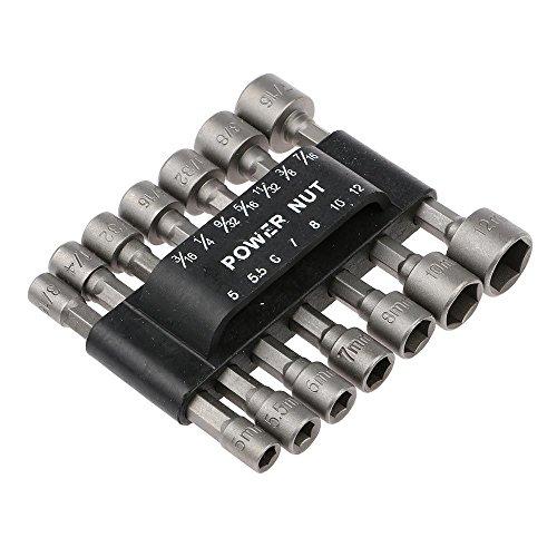 HuntGold 14PCS Power Nut Driver Drill Bit Set Metric Socket Wrench Screw 14