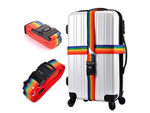 Perfect shopping 2M Password Lock Safe Luggage Suitcase Secure Backpack Bag Strap Band Belt Baggage Name Tag Rainbow Travel