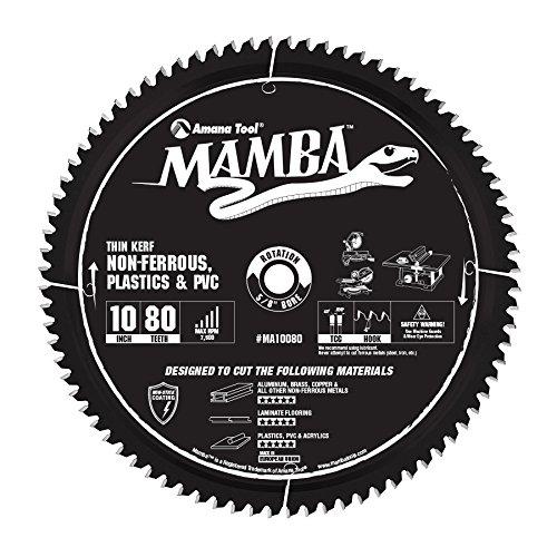 Amana Tool MA10080 Carbide Tipped Thin Kerf Laminate Flooring Non-Ferrous Plastic PVC Cutting Contractor Series Mamba 10 Inch D x 80T TCG -6 Deg 58 Bore Circular Saw Blade
