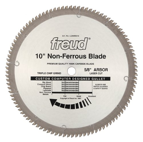 Freud LU90M010 10-Inch 100 Tooth TCG Thin Stock Non-Ferrous Metal Cutting Saw Blade with 58-Inch Arbor