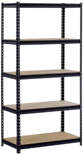 SanduskyEdsal UR185PL-BLK Black Steel Heavy Duty 5-Shelf Shelving Unit 4000lbs Capacity 36 Width x 72 Height x 18 Depth