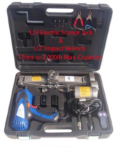 1 Ton Electric Scissor Car Jack 12 Impact Wrench 12V