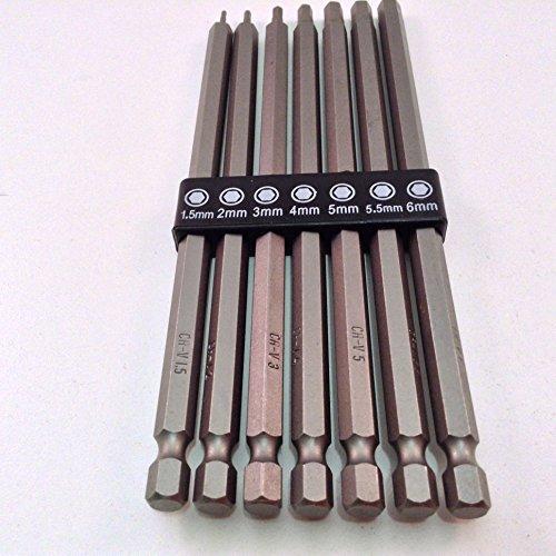 7pc Long Reach Metric Hex Bit Set with 14 Hex Shank CR-V Steel