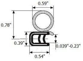 Trim door rubber seal 15mm diameter bulb X 1-4mm grip range X 14mm U height 20 Feet
