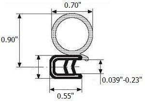 Trim door rubber seal large bulb 070 bulb diameter X 0039-023 grip range X 055 U height 25 Feet