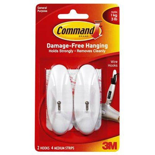 Command Wire Hooks Medium White 2-Hooks 17068ES