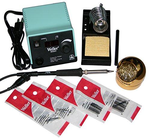 Weller WESD51 Digital Soldering Station Bundle includes 4 Additional Tips- ScrewdriverChisel Tip Bundle ETA ETB ETC ETD Hakkos 599B-02 Waterless Tip Cleaner