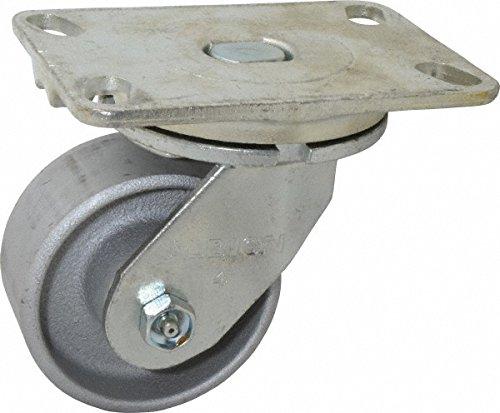 Albion 71CA04227S Heavy Duty Swivel Caster 4 Diameter Cast Iron Wheel Radial Bearing 2 Tread Width 5 L x 4 W Plate 1000 lb Capacity
