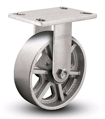 Albion 71CA08227R Heavy Duty Rigid Caster 8 Diameter Cast Iron Wheel Radial Bearing 2 Tread Width 5 L x 4 W Plate 1500 lb Capacity