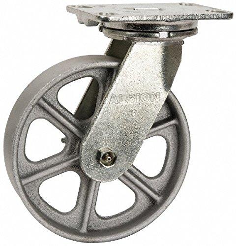 Albion 71CA08227S Heavy Duty Swivel Caster 8 Diameter Cast Iron Wheel Radial Bearing 2 Tread Width 5 L x 4 W Plate 1500 lb Capacity