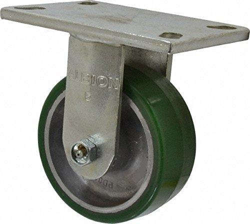 Albion 71PD05227R Heavy Duty Rigid Caster 5 Diameter Polyurethane on Aluminum Wheel Radial Bearing 2 Tread Width 5 L x 4 W Plate 1050 lb Capacity