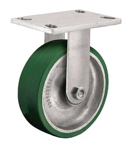 Albion 71PD08227R Heavy Duty Rigid Caster 8 Diameter Polyurethane on Aluminum Wheel Radial Bearing 2 Tread Width 5 L x 4 W Plate 1500 lb Capacity