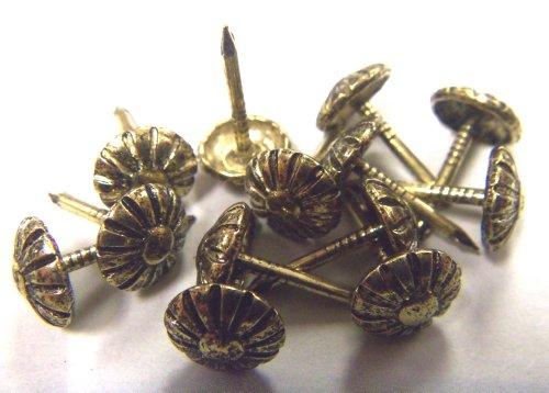 Petite 38 Head Rosette Floral Decorative Tack Nail Upholstery Stud - Antique Gold 100 pcs
