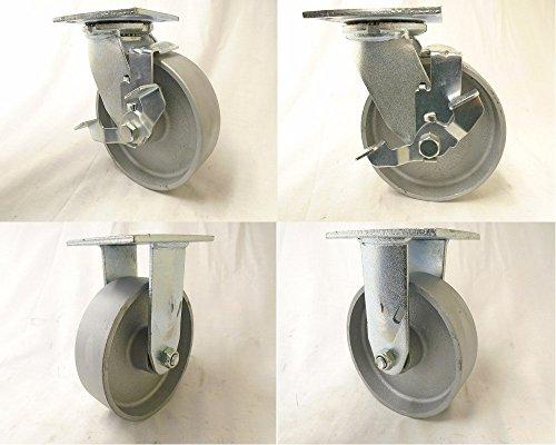 6 x 2 Swivel Caster Semi-Steel Wheel Brake2 Rigid 2 Heavy Duty 1200 lbs Each Tool Box