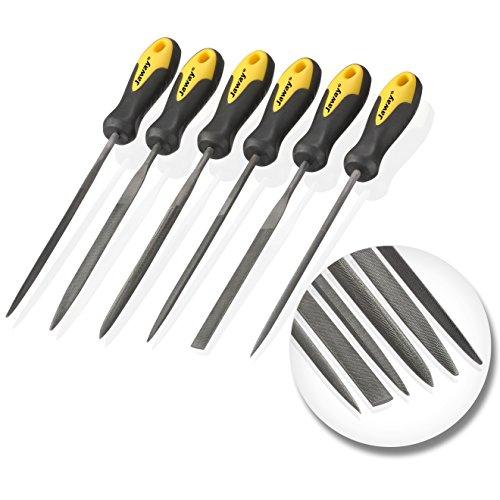 JawayTool 6pc Carbon Steel Needle File Small Wood Rasp Set Soft Grip
