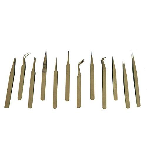 12 Piece Non-magnetic Precision Tweezer Set