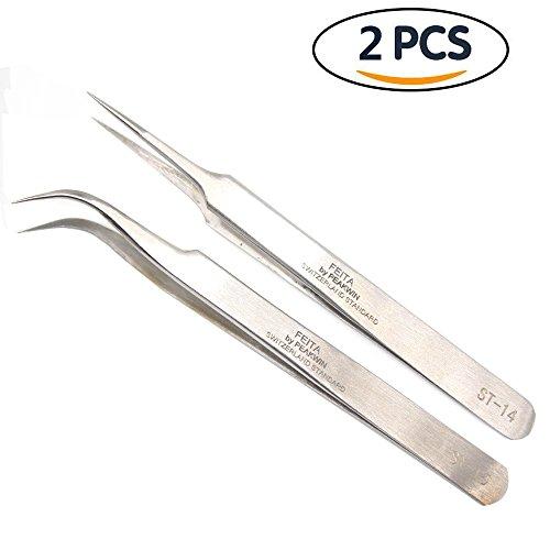 FEITA Tweezers ST-14&15 Stainless Steel Precision Hand Tool Tweezers for LabJewelry-makingHobbies2 PCSPACK