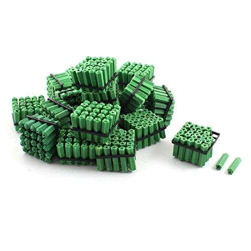 500 Pcs Green Masonry Screw Fixing Wall Anchor Plugs 5mm x 21mm
