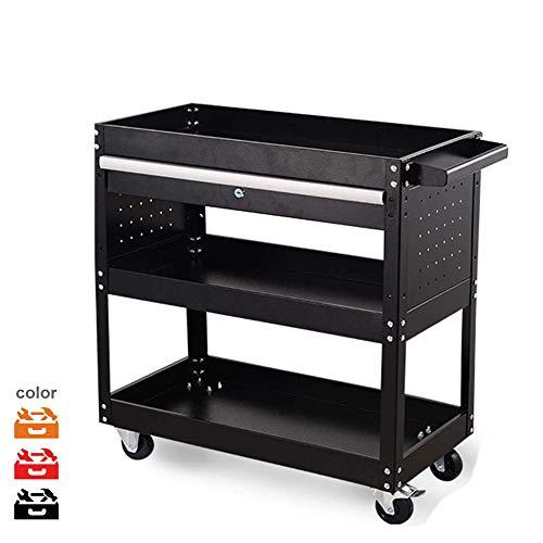 3-Shelf Utility CartRolling Tool CartService Toolbox Storage Trolley with Sliding DrawerMultipurpose Tool Organizer with WheelsGreat for WarehouseWorkshop and Garage Black