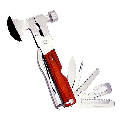 Portable Multipurpose Multitool Multifunctional Pocket Mini Tools with Axe Hammer Plier Set Wooden Handle