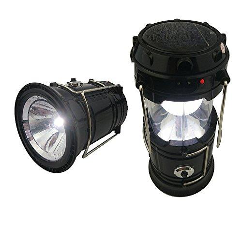 Bosdontek Portable Rechargeable Outdoor Solar LED Camping Lantern Flashlight--Black