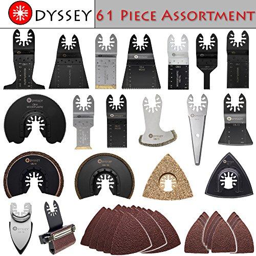Odyssey Oscillating Multitool 61 Piece Assortment Pack Platinum Saw Blades for Wood Plastic Metal Bundle 61-Items