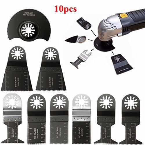 BABAN 10Pcs Mixed Oscillating Multitool Saw Blades Set Fits Bosch FeinBlack and Decker Chicago Craftsman Bolt-on Dewalt by BABAN