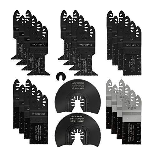 WORKPRO 23-Piece MetalWood Oscillating Saw Blades Kit Multitool Quick Release Saw Blades Fit Porter Cable Black Decker Rockwell Ridgid Ryobi Milwaukee DeWalt Chicago Craftsman