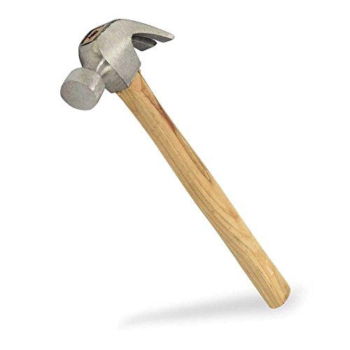 Domeiki 20oz Hammer Curved Rip Claw Nail Puller w Wood Handle Flat Steel Head Tool