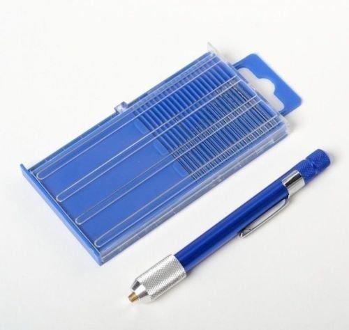 21pc Mini Micro Drill Bits Set Index 61-80 w Blue Aluminum Drill Handle